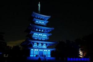 11月16日の国際糖尿病デーには五重塔もブルーライトアップ